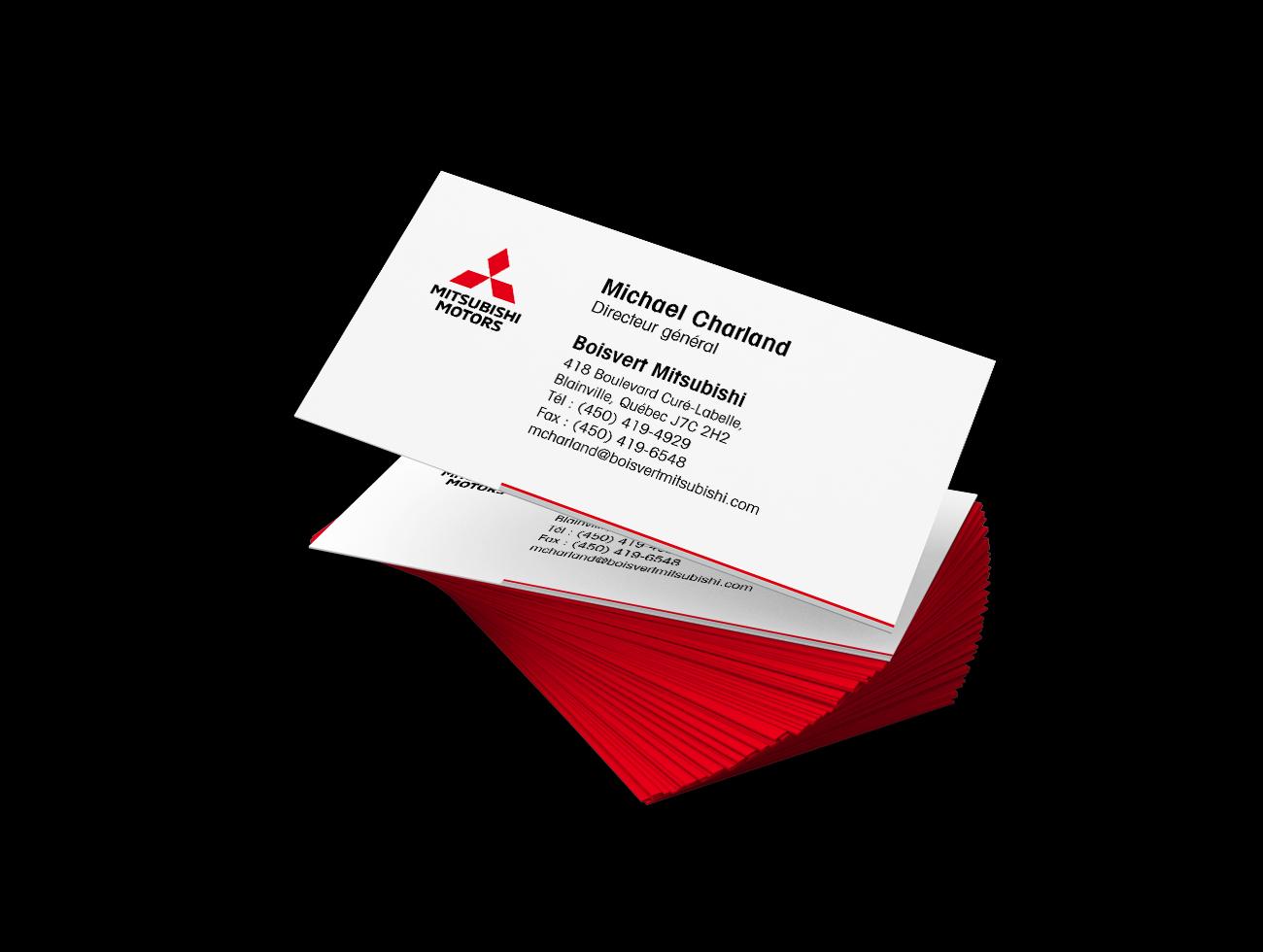 TRIDAL conception cartes d'affaires Boisvert Mitsubishi